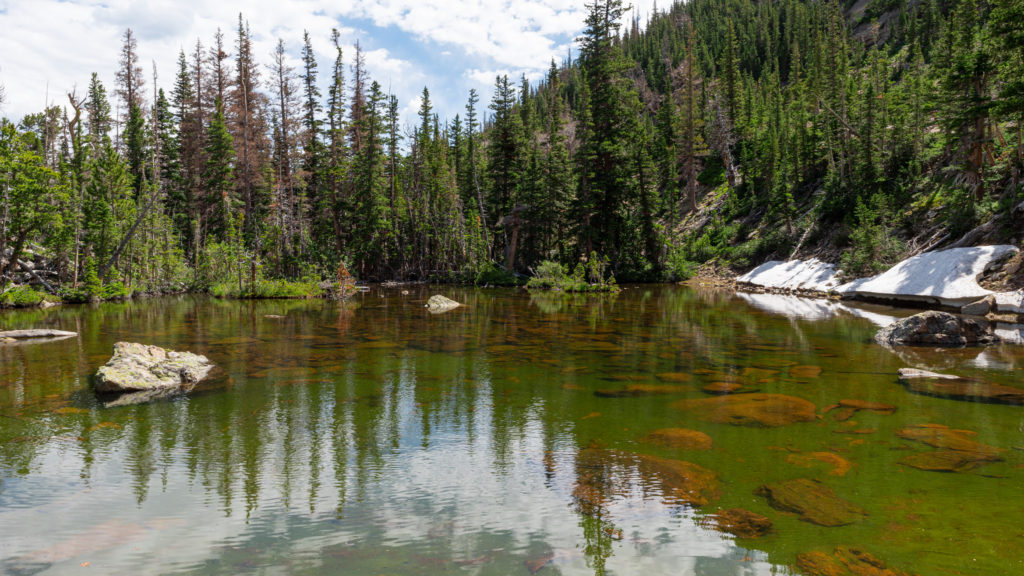 A very shallow, not so much visited alpine lake in Rocky Mountain National Park